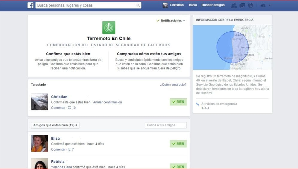 Facebook Chile terremoto