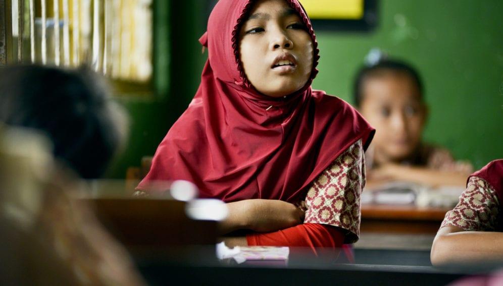 Muslim girl in class