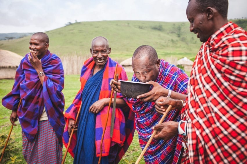 Moses Ole-Neselle (second from right) is field coordinator for the Southern African Centre for Infectious Disease Surveillance, a consortium that monitors disease and trains people to report on health issues. Ole-Neselle's role as a Maasai elder gives him a unique understanding of cultural perceptions of disease