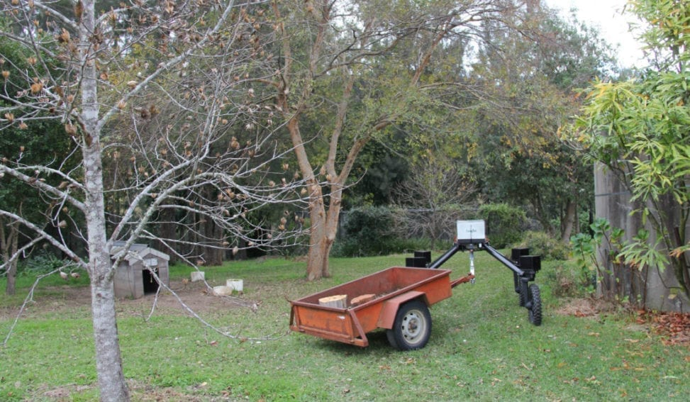 In order for robots to become acceptable on farms they need to do a range of tasks to support growers. In this image, SwagBot is seen towing a trailer. The farmers can select a location for the robot to autonomously take items to, transporting animal feed, for instance, with ease.