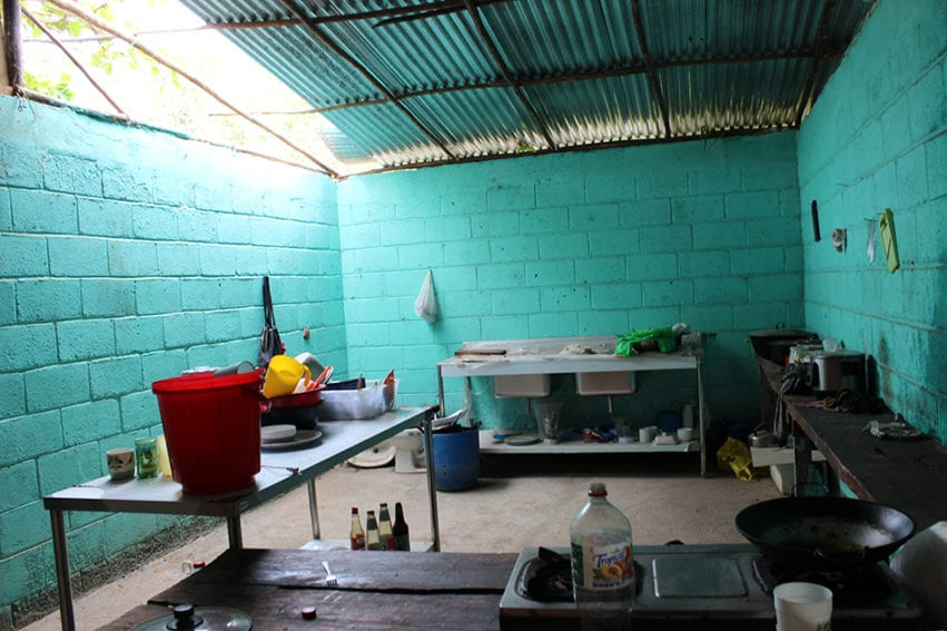"""A kitchen space set up by the women's cooperative. The plan was to open a restaurant for local fishers. It is ready – """"but we have a big problem"""", says Jimenes Mora: there is no electricity. They say other enterprises have access, but their connection was refused on the grounds of the mangrove being a protected area."""