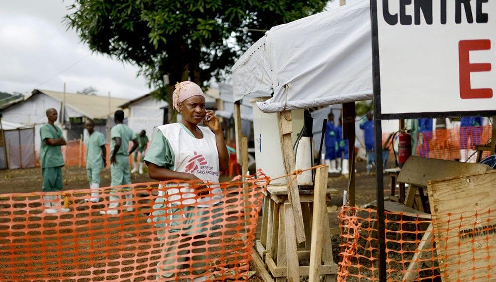 MSF nurse using mobile phone - MAIN