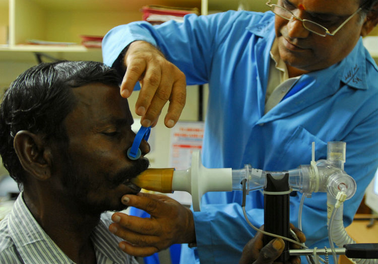 A tuberculosis (TB) patient