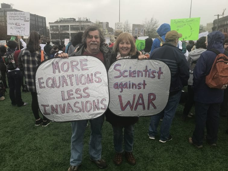 """Scientists Kathy Barker and Alan Aderem attended with thousands of others in Seattle, Washington state. """"Science without intentional thought and morality can do great harm,"""" they said."""