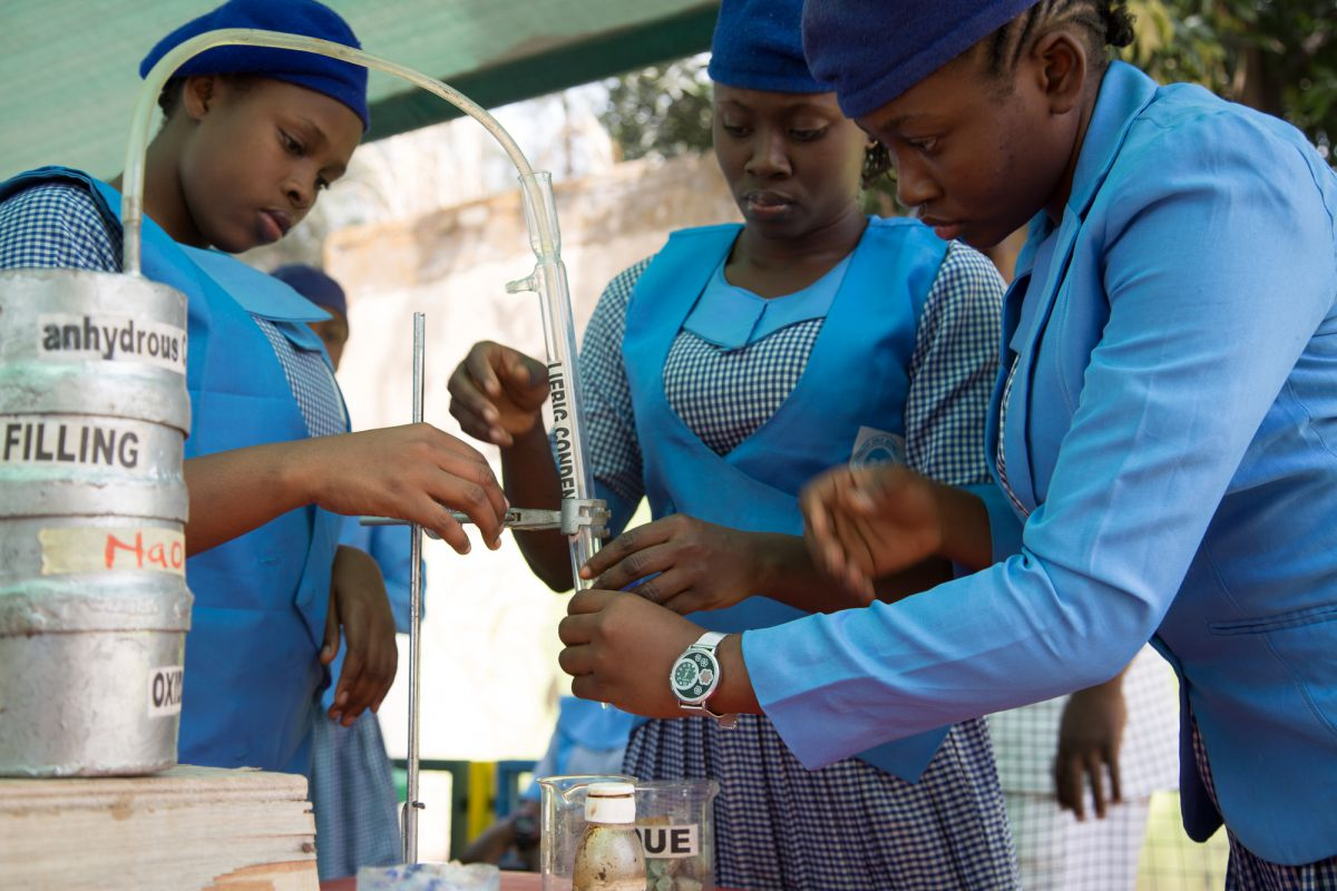 To turn waste into useful recycled substances, the girls set up a condenser that will turn gases into liquids that can be used for energy production
