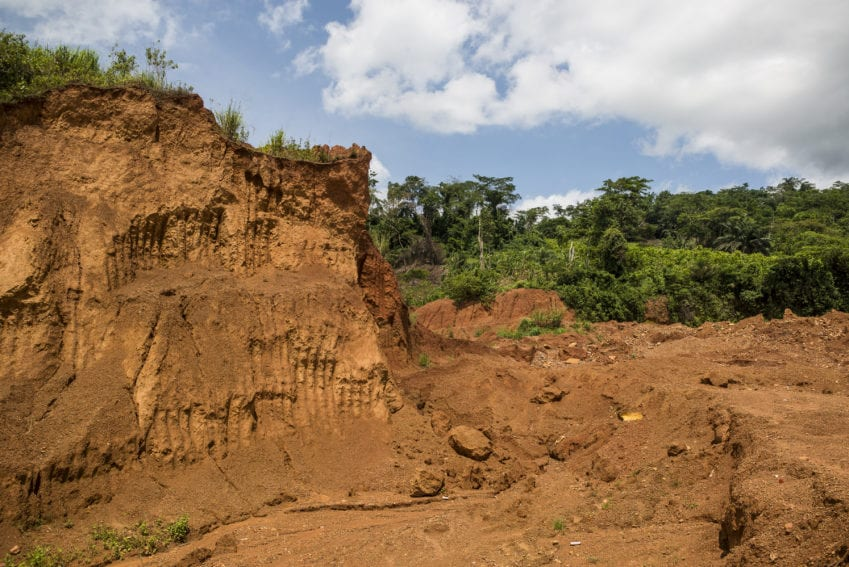 This illegal mining site in Kyebi demonstrates how excavators used in mining degraded the land leaving behind a huge man-made valley.