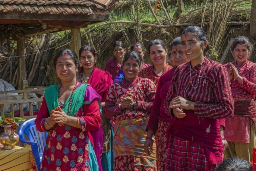 Some of the women of Kalchhebesi, one of the 'climate smart villages'. More than two million Nepalis, nearly ten per cent the population, work abroad. Most of them are men, and this leaves Nepali women on the front line of efforts to manage natural resources and adapt to climate change