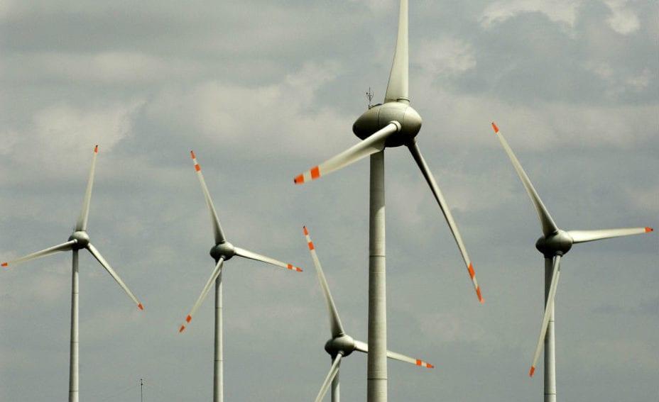 Wind turbines on a wind farm in Gudihalli village