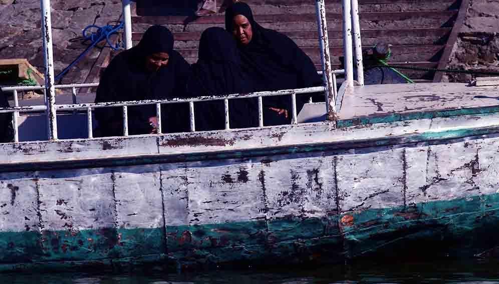 Sudanese women on a boat