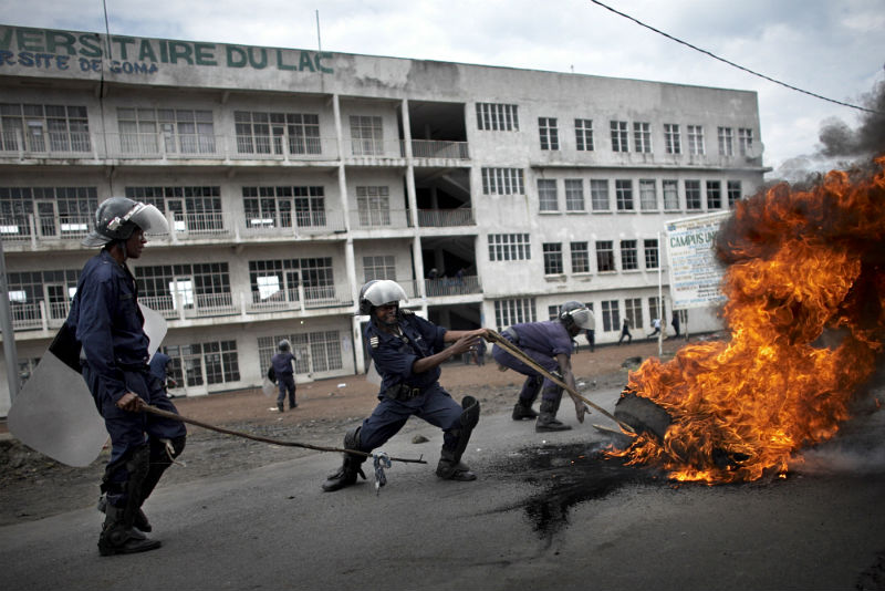 Riot police on the streets of Goma