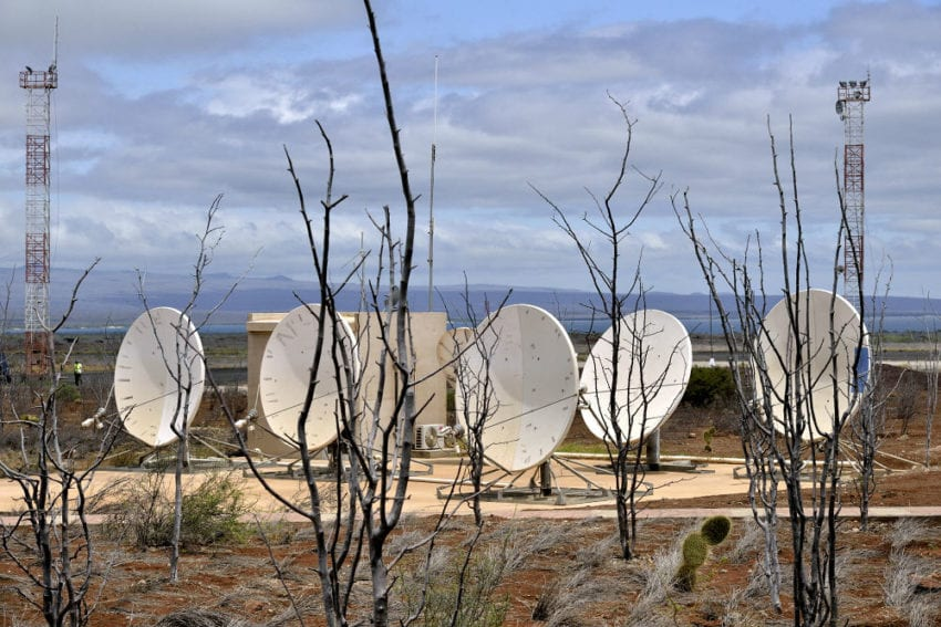 Satellite dishes at Baltra Airport.