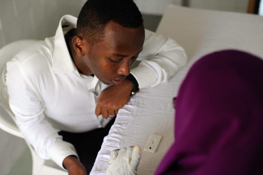 A university student in Mogadishu, Somalia, waits for his HIV test