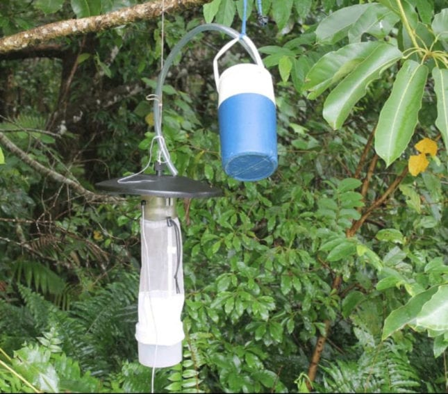 A mosquito trap used in the research in Brazil Copyright: Laura Cristina Multini's personal archive.